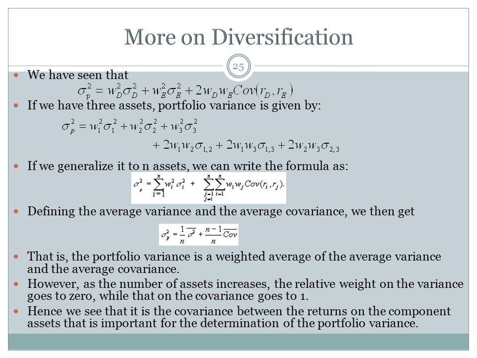 More on Diversification