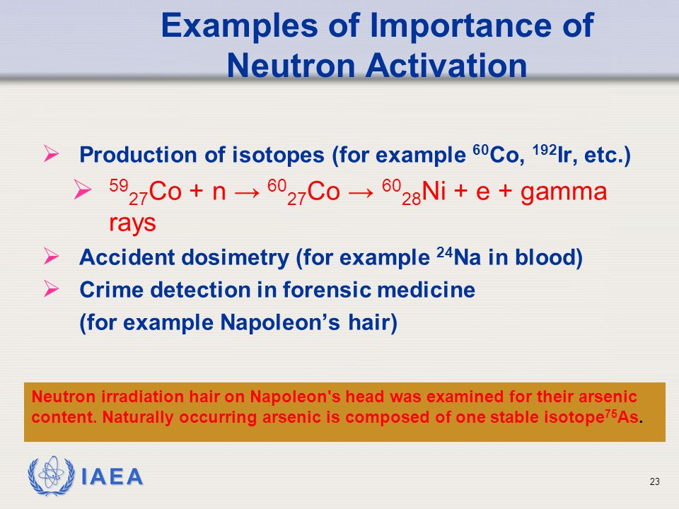 Examples of Importance of Neutron Activation