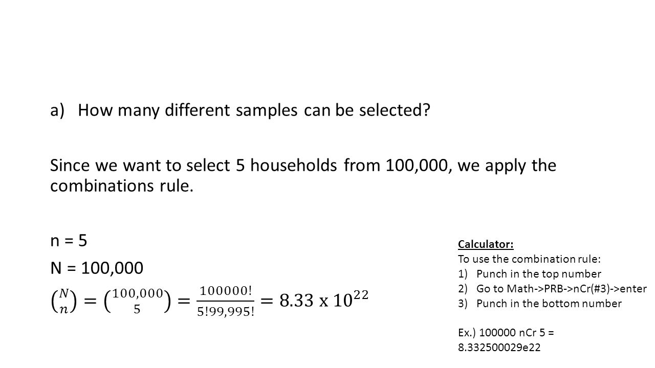 How many different samples can be selected