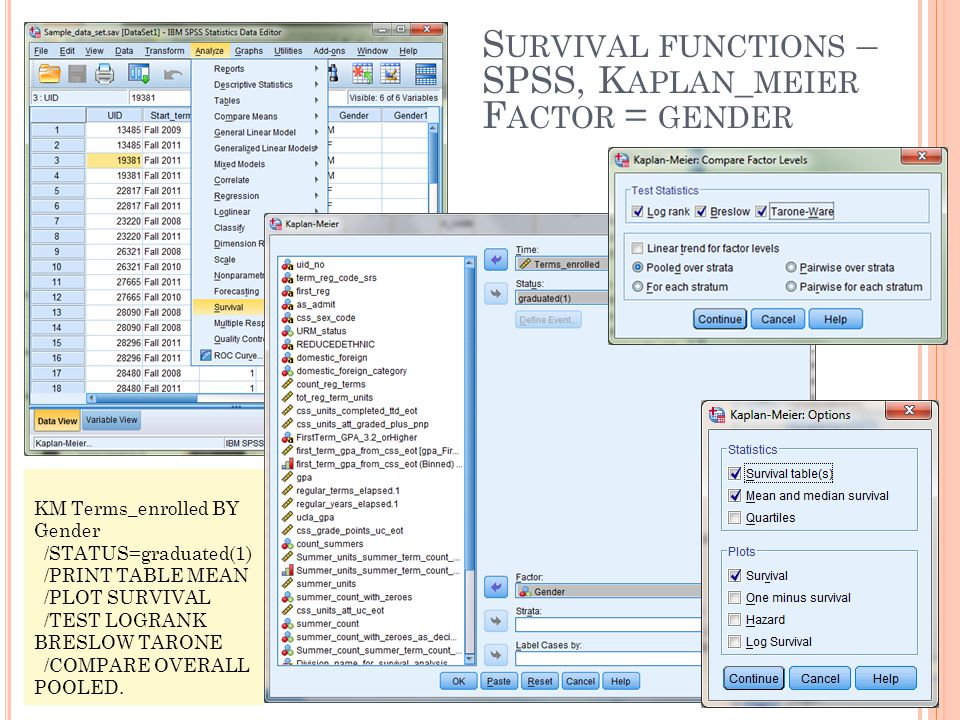 Survival functions – SPSS, Kaplan_meier Factor = gender