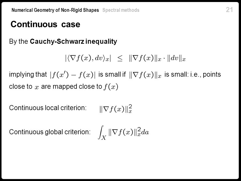 Continuous case By the Cauchy-Schwarz inequality