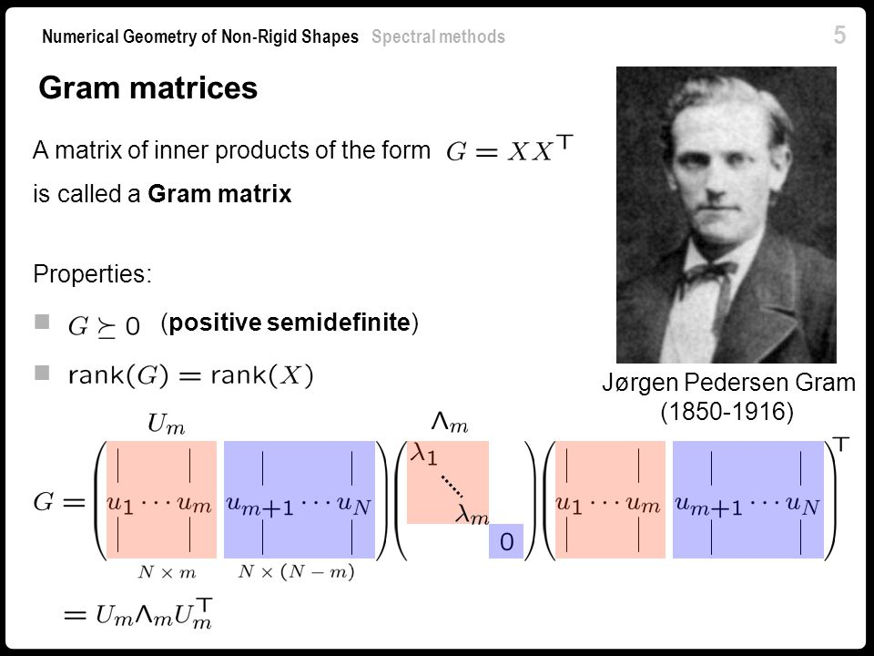 Gram matrices A matrix of inner products of the form