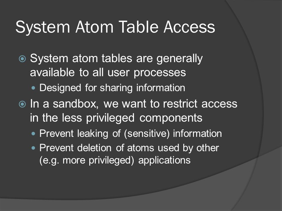 System Atom Table Access