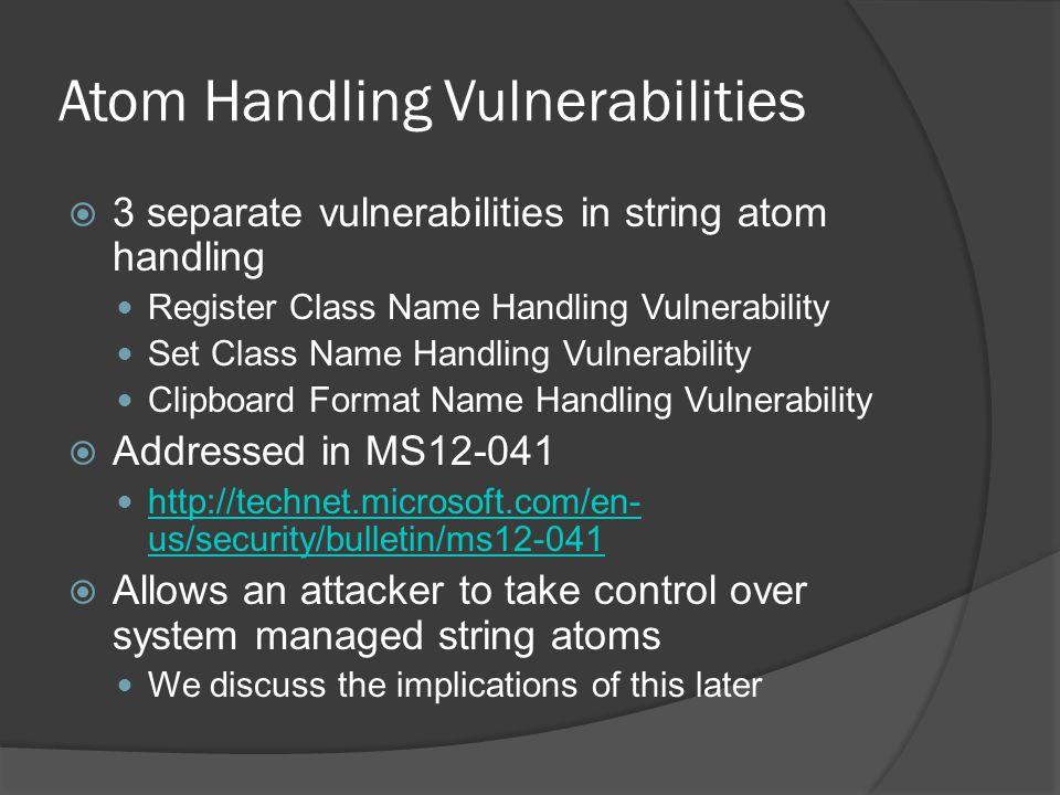 Atom Handling Vulnerabilities