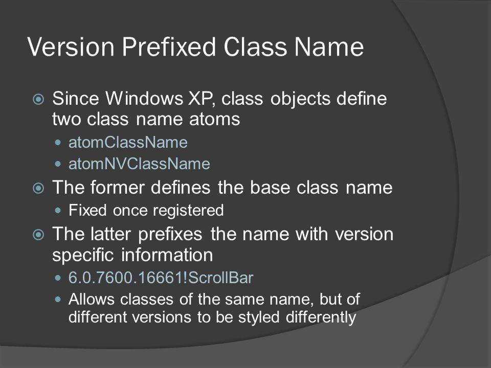 Version Prefixed Class Name