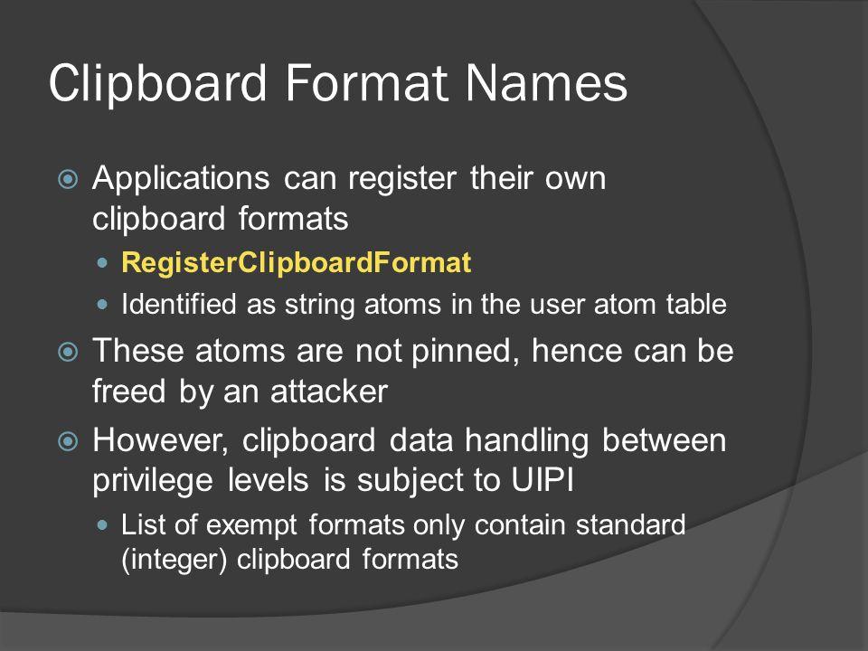 Clipboard Format Names
