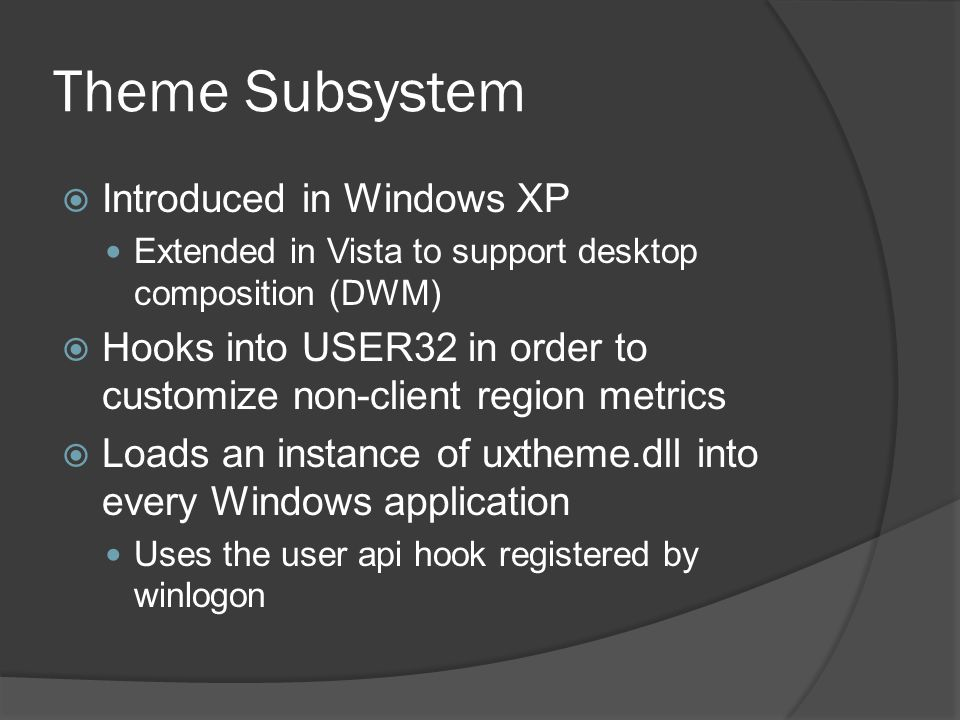 Theme Subsystem Introduced in Windows XP