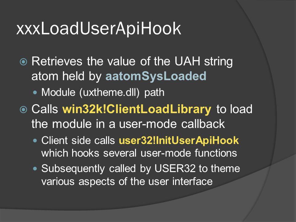 xxxLoadUserApiHook Retrieves the value of the UAH string atom held by aatomSysLoaded. Module (uxtheme.dll) path.