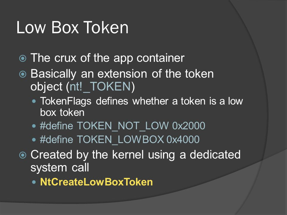 Low Box Token The crux of the app container