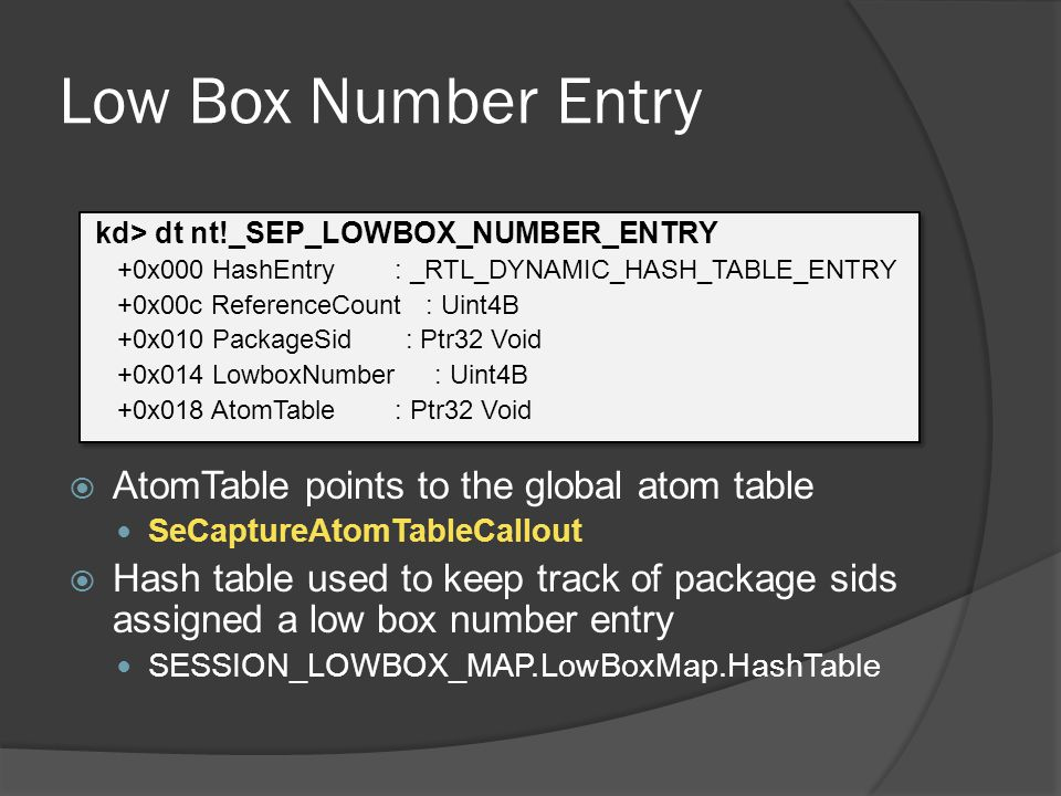 Low Box Number Entry AtomTable points to the global atom table