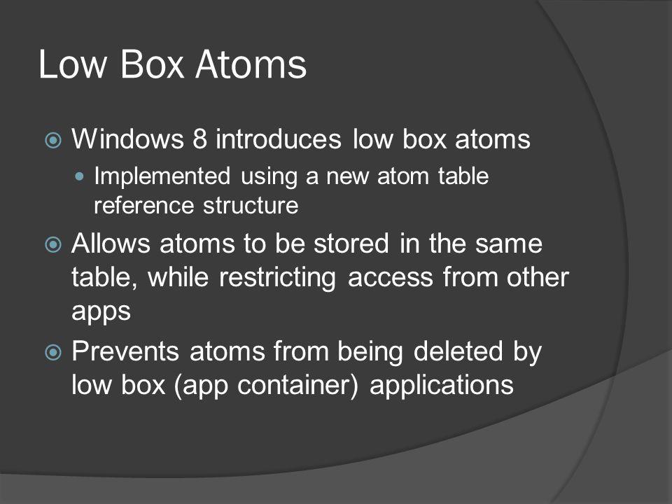 Low Box Atoms Windows 8 introduces low box atoms
