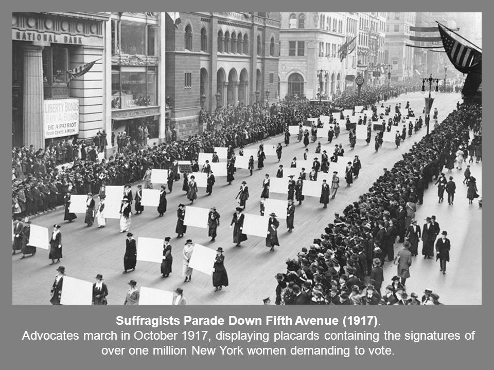 Suffragists Parade Down Fifth Avenue (1917).