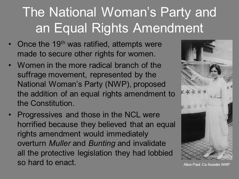 The National Woman's Party and an Equal Rights Amendment
