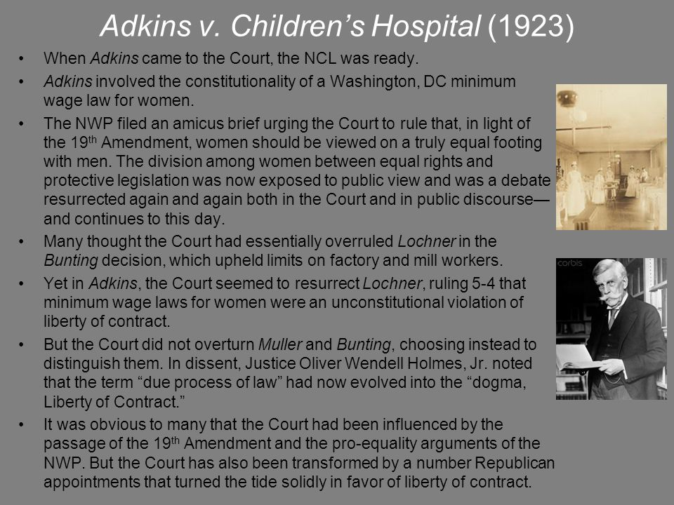 Adkins v. Children's Hospital (1923)