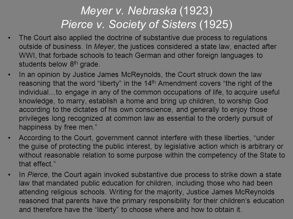 Meyer v. Nebraska (1923) Pierce v. Society of Sisters (1925)