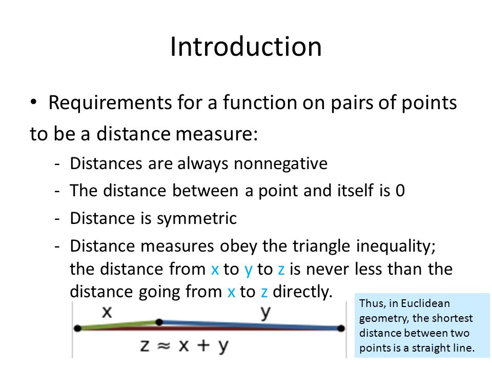Introduction Requirements for a function on pairs of points