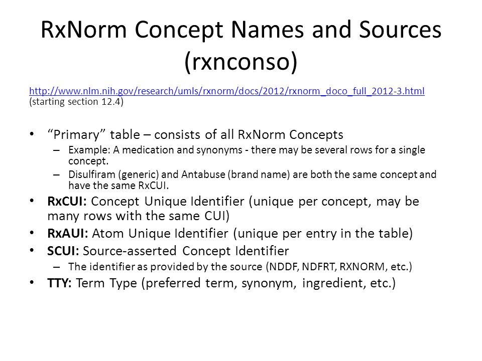 RxNorm Concept Names and Sources (rxnconso)