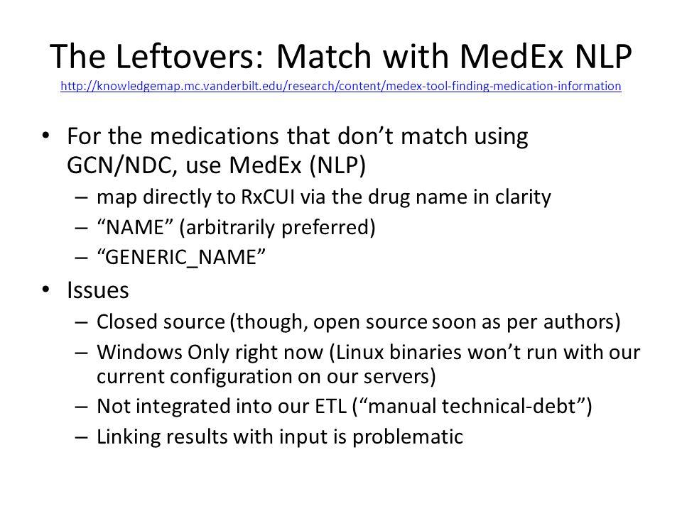 The Leftovers: Match with MedEx NLP http://knowledgemap.mc.vanderbilt.edu/research/content/medex-tool-finding-medication-information