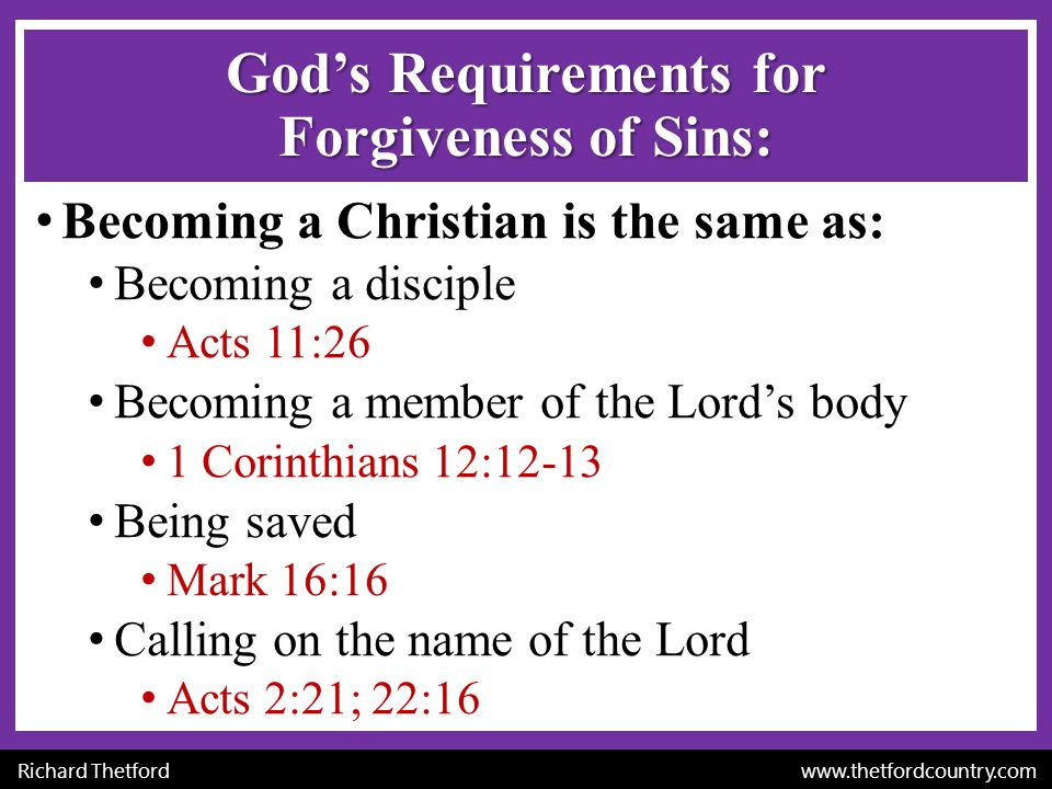 God's Requirements for Forgiveness of Sins: