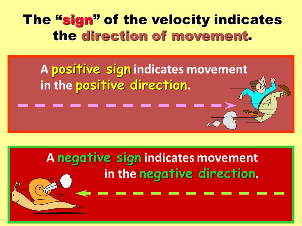 The sign of the velocity indicates the direction of movement.