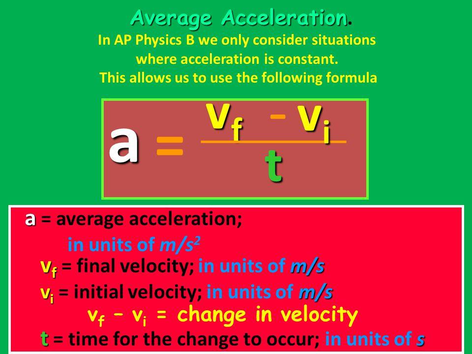 a - = vf vi t a = average acceleration;