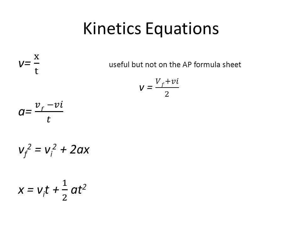 Kinetics Equations v= x t useful but not on the AP formula sheet