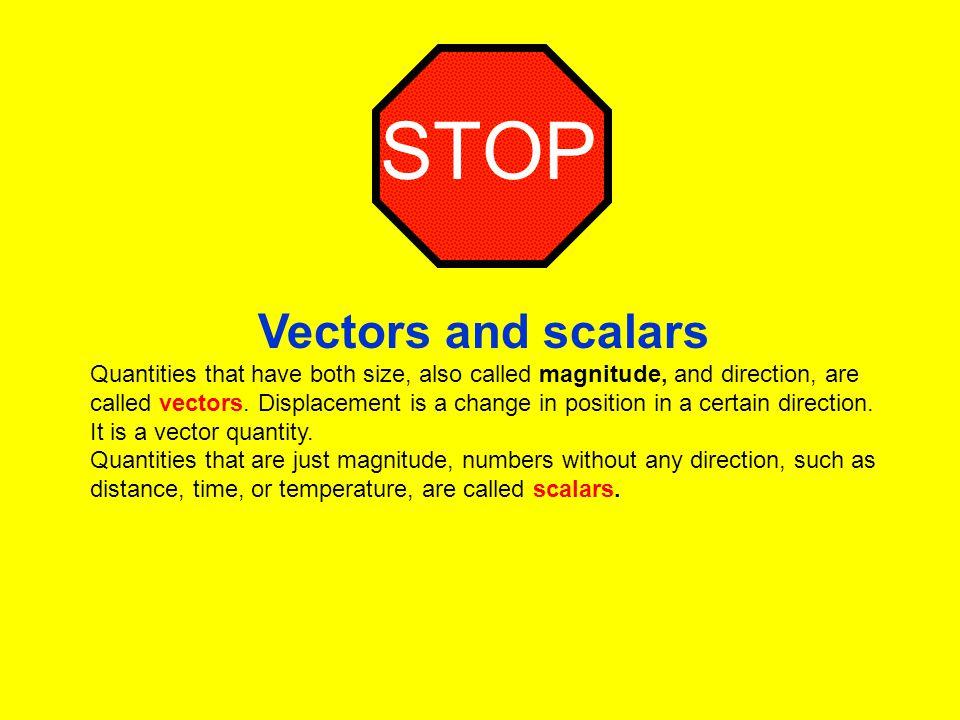 STOP Vectors and scalars