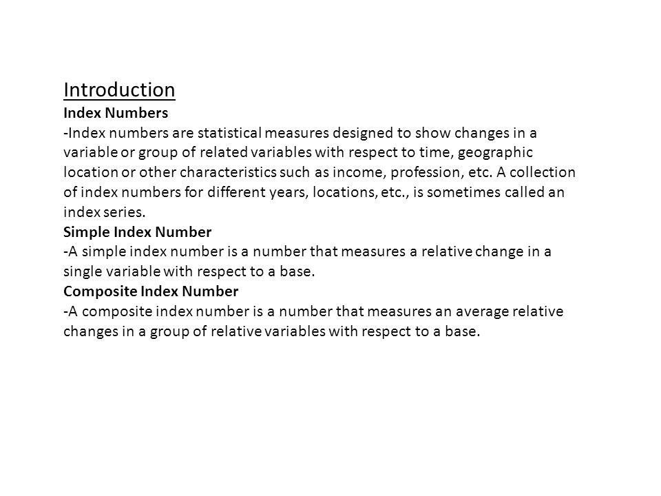 Introduction Index Numbers