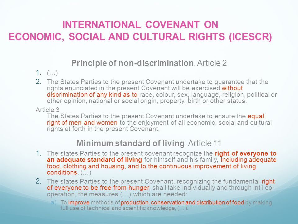 INTERNATIONAL COVENANT ON ECONOMIC, SOCIAL AND CULTURAL RIGHTS (ICESCR)