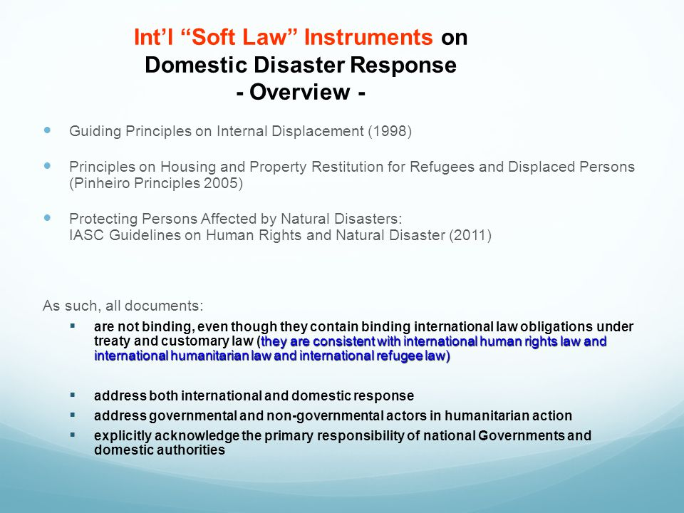 Int'l Soft Law Instruments on Domestic Disaster Response - Overview -
