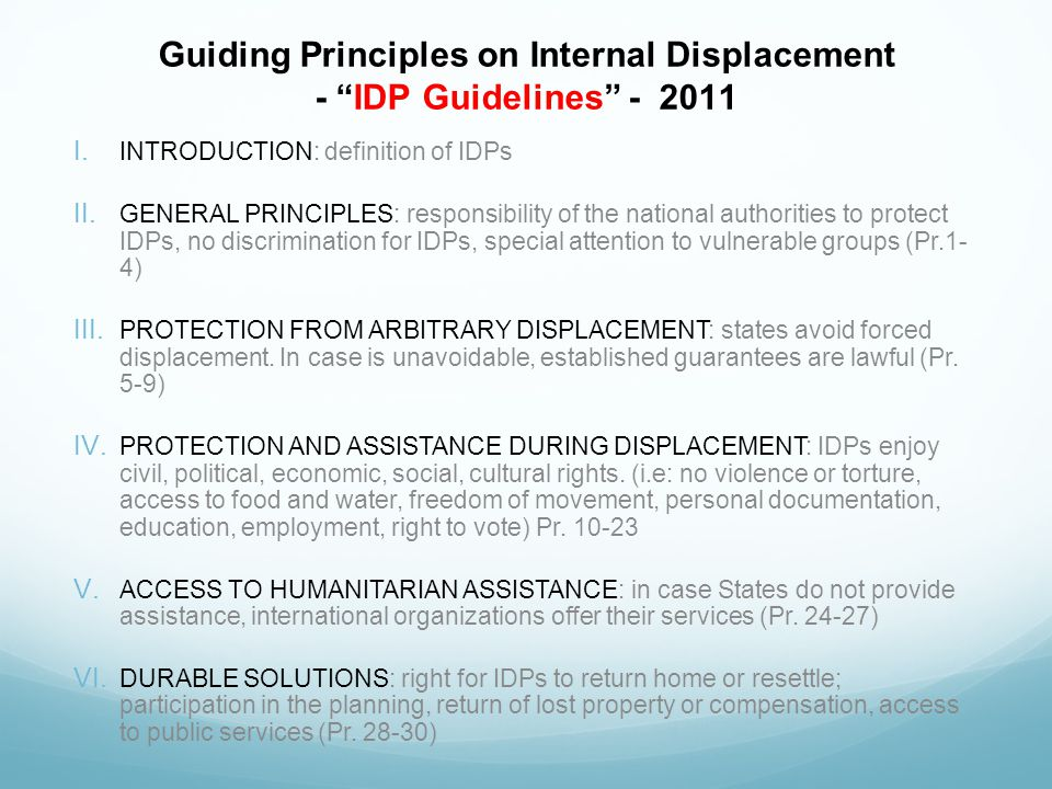 Guiding Principles on Internal Displacement - IDP Guidelines - 2011