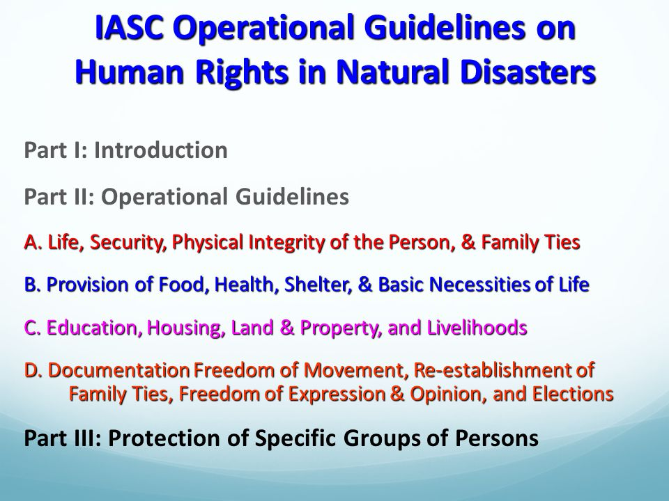 IASC Operational Guidelines on Human Rights in Natural Disasters