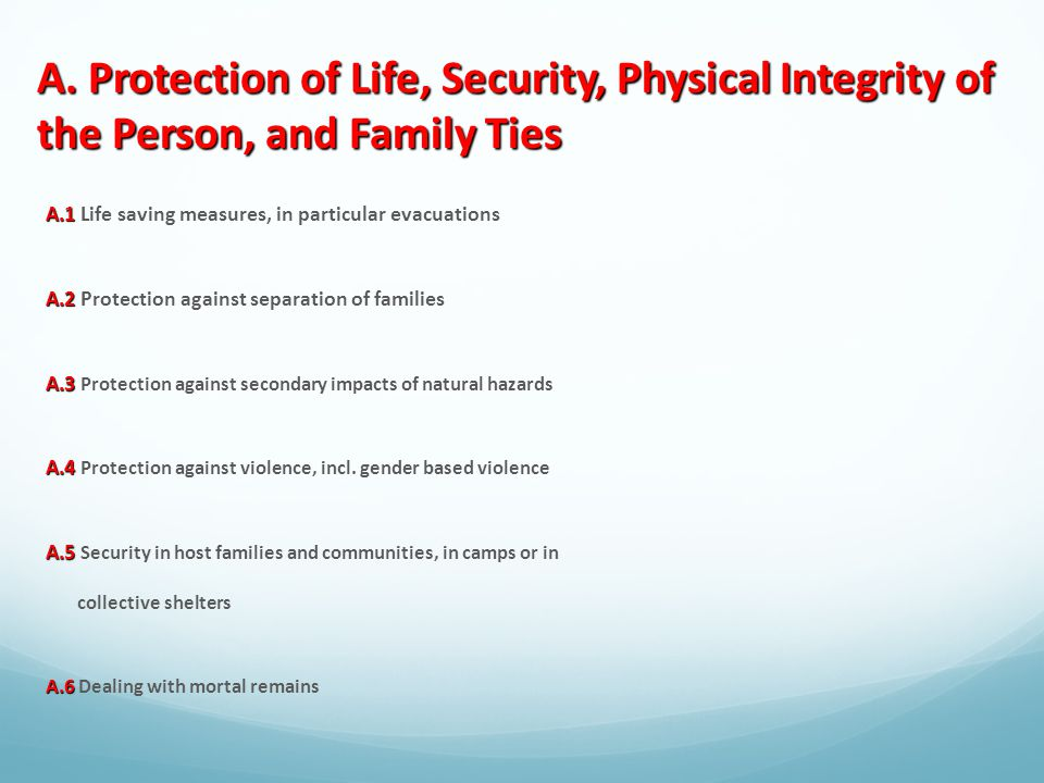 A. Protection of Life, Security, Physical Integrity of the Person, and Family Ties