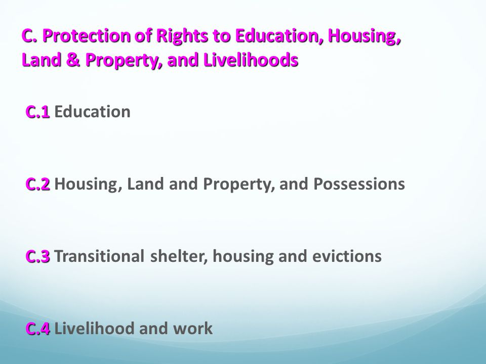 C. Protection of Rights to Education, Housing, Land & Property, and Livelihoods
