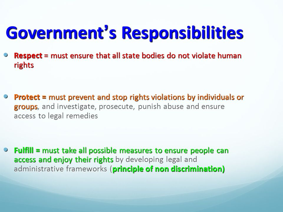 Government's Responsibilities