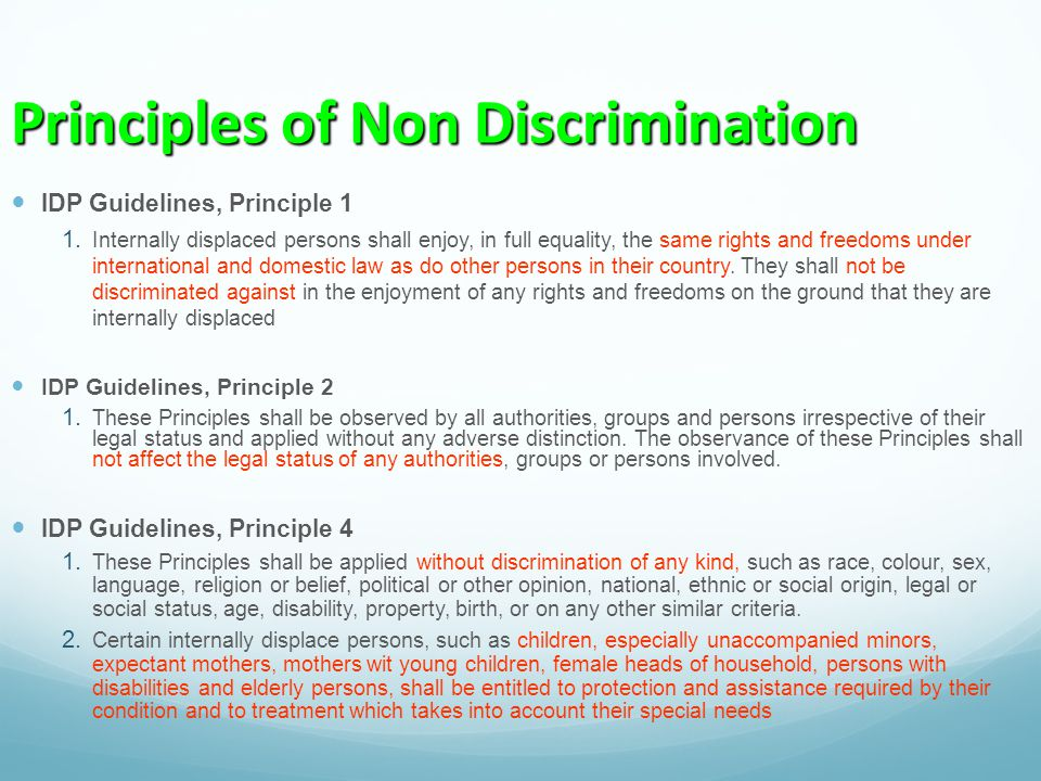 Principles of Non Discrimination