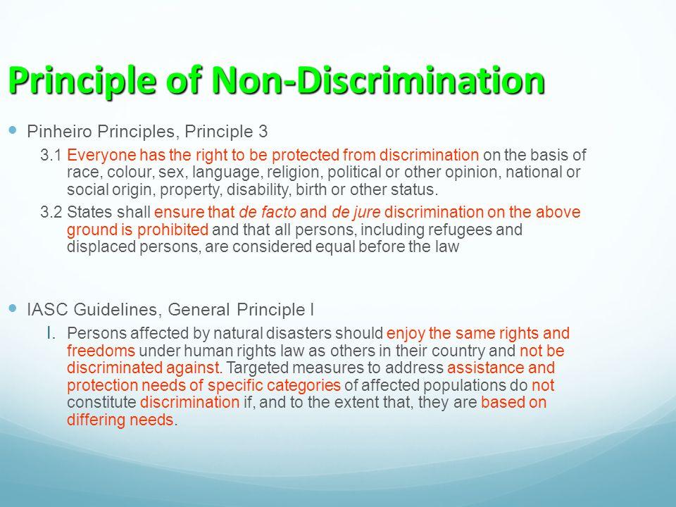 Principle of Non-Discrimination