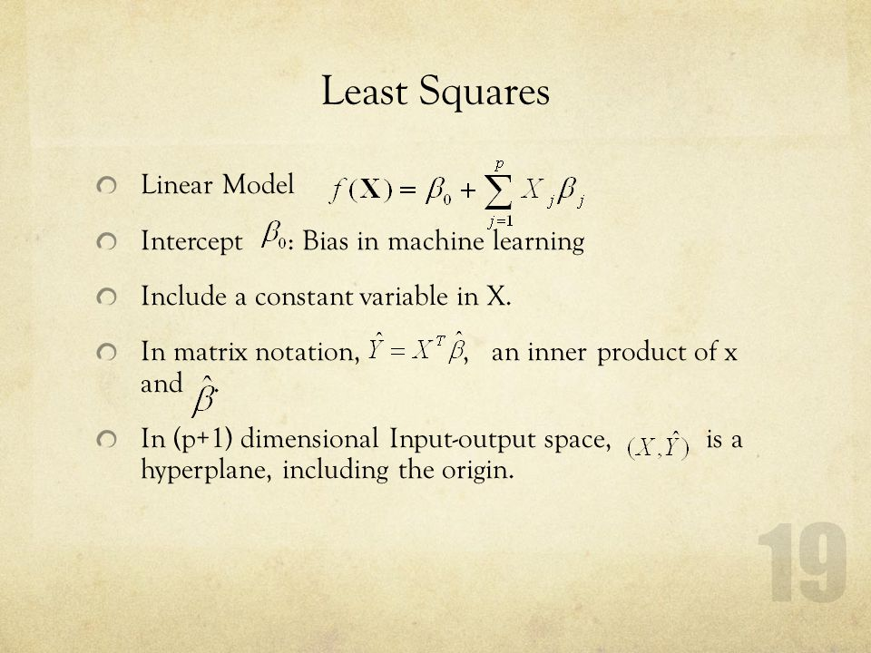 Least Squares Linear Model Intercept : Bias in machine learning