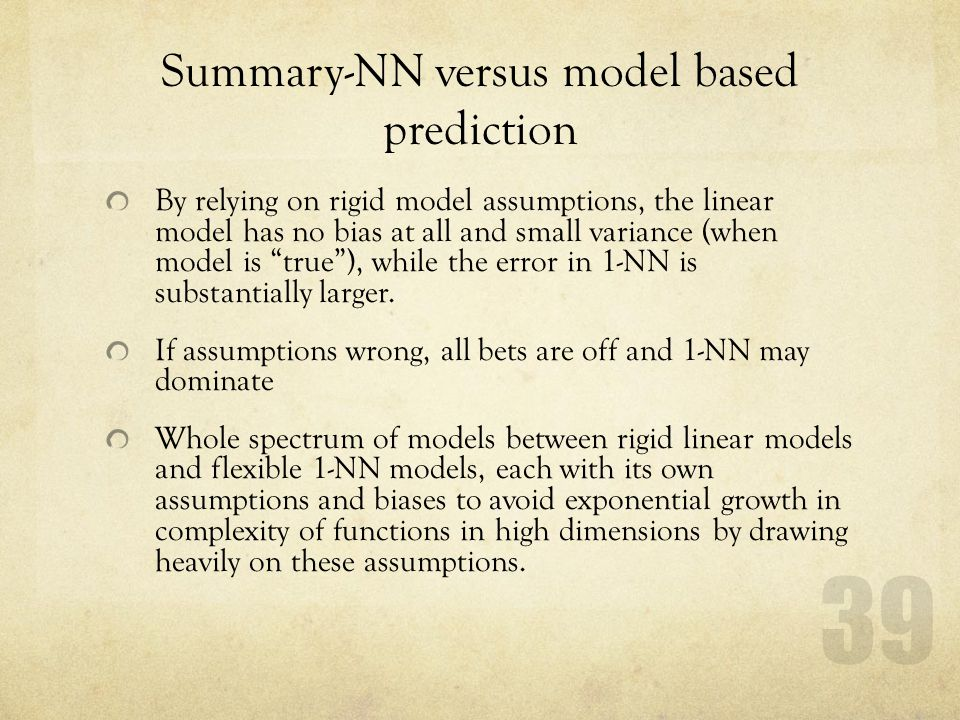 Summary-NN versus model based prediction