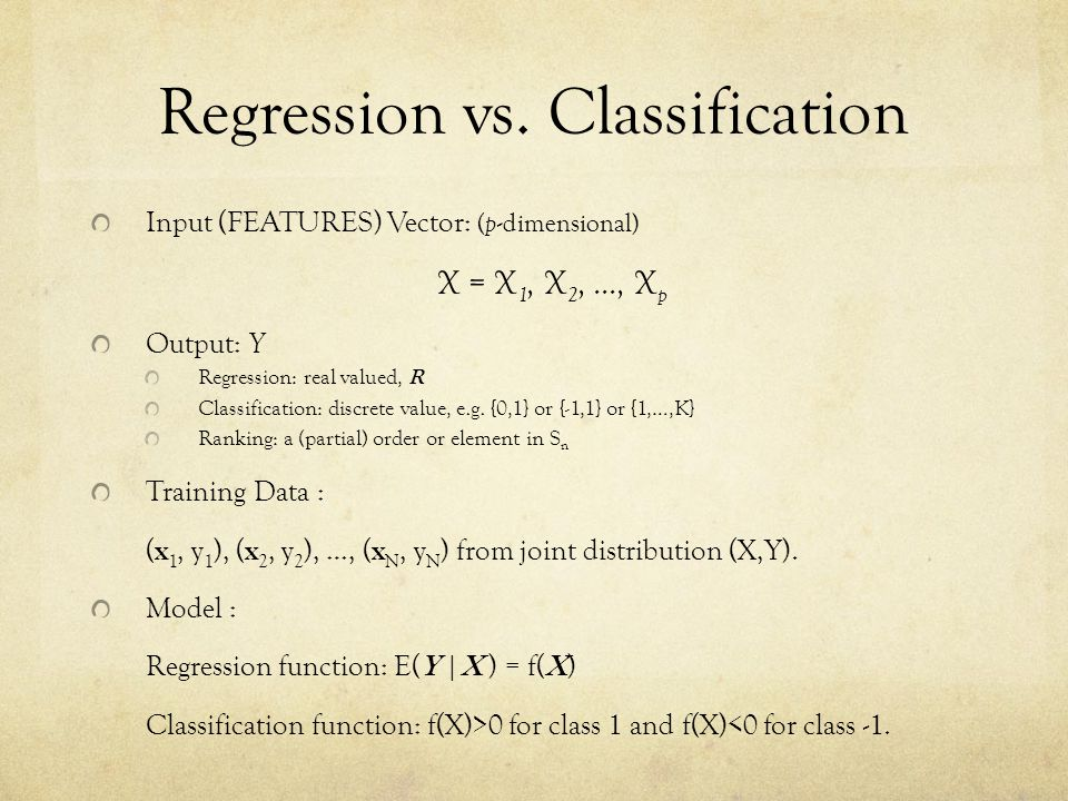 Regression vs. Classification