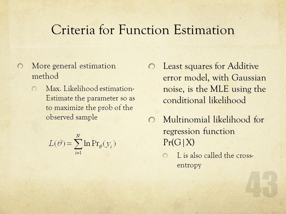 Criteria for Function Estimation