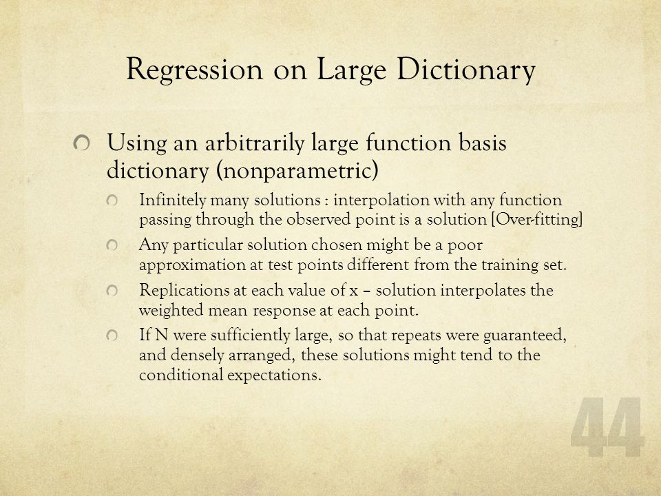 Regression on Large Dictionary