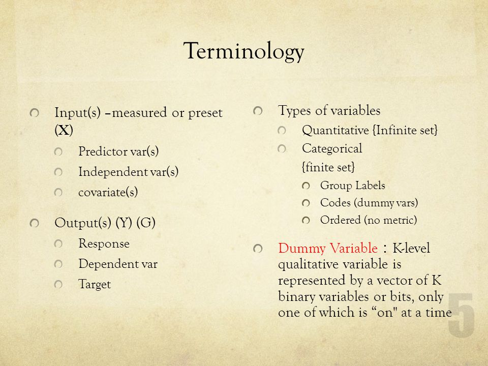 Terminology Input(s) –measured or preset (X) Output(s) (Y) (G)