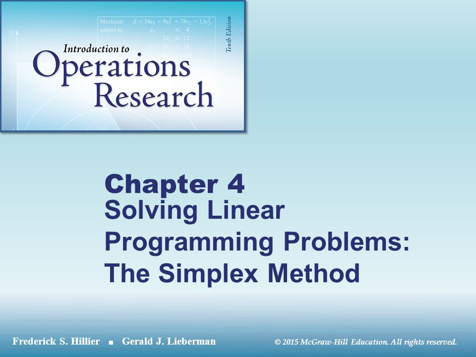 Solving Linear Programming Problems: The Simplex Method
