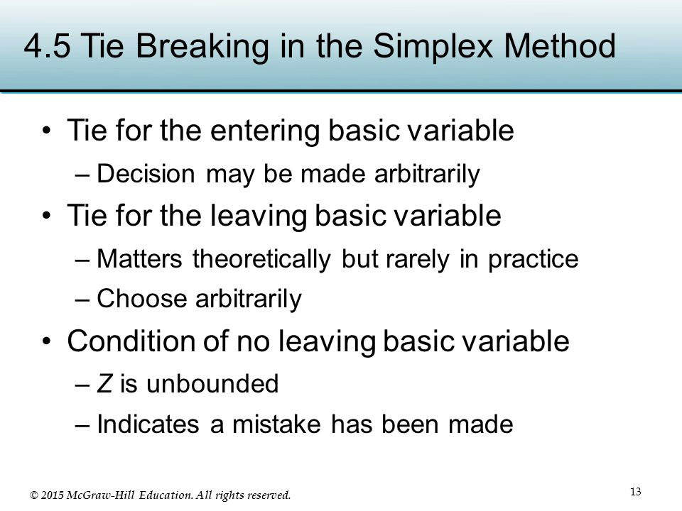 4.5 Tie Breaking in the Simplex Method