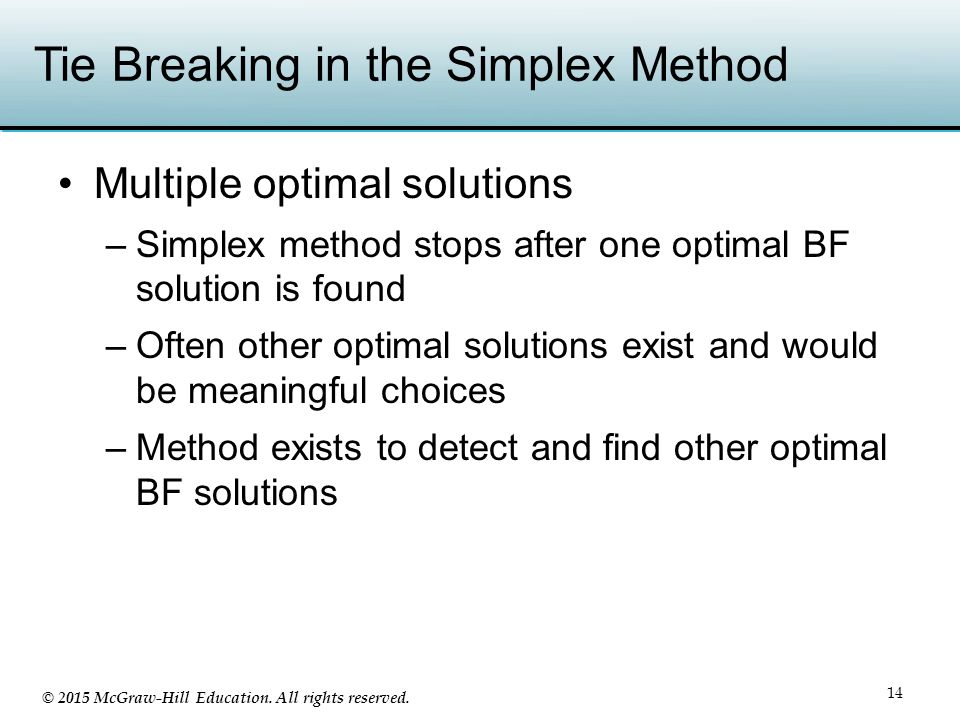 Tie Breaking in the Simplex Method