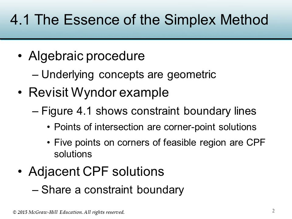 4.1 The Essence of the Simplex Method