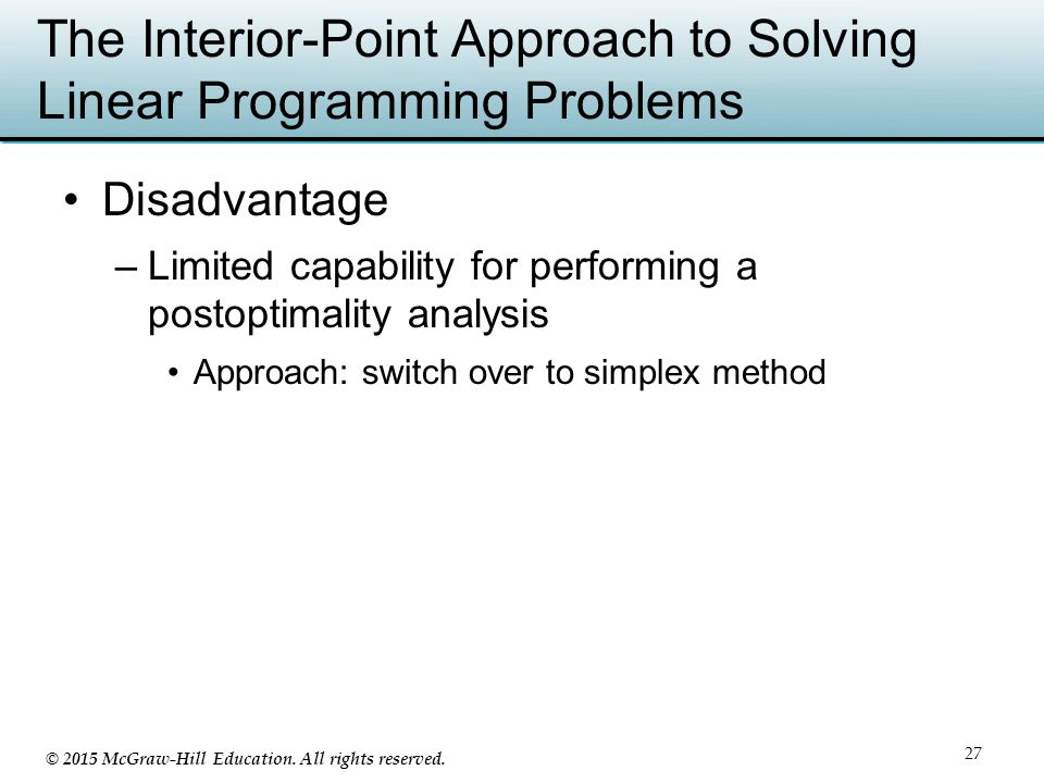 The Interior-Point Approach to Solving Linear Programming Problems