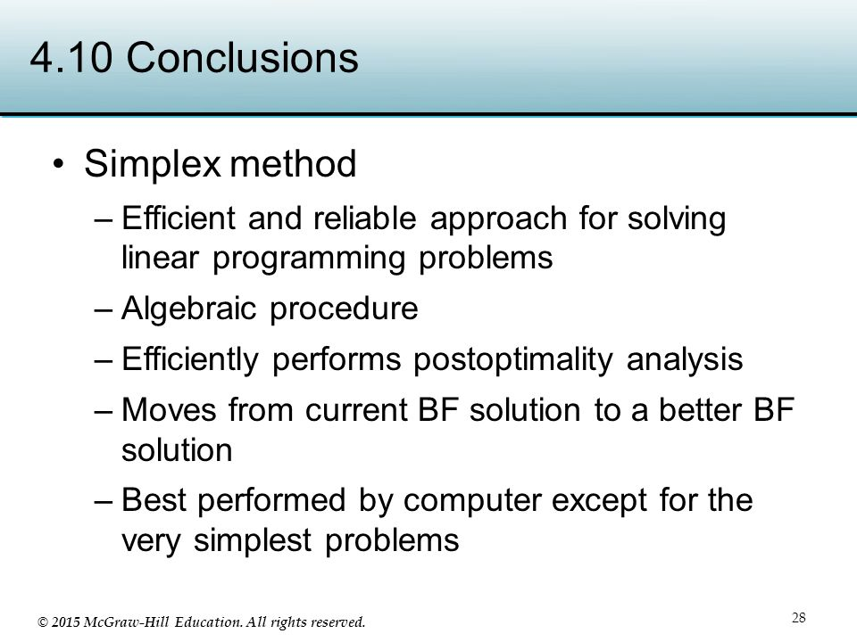 4.10 Conclusions Simplex method