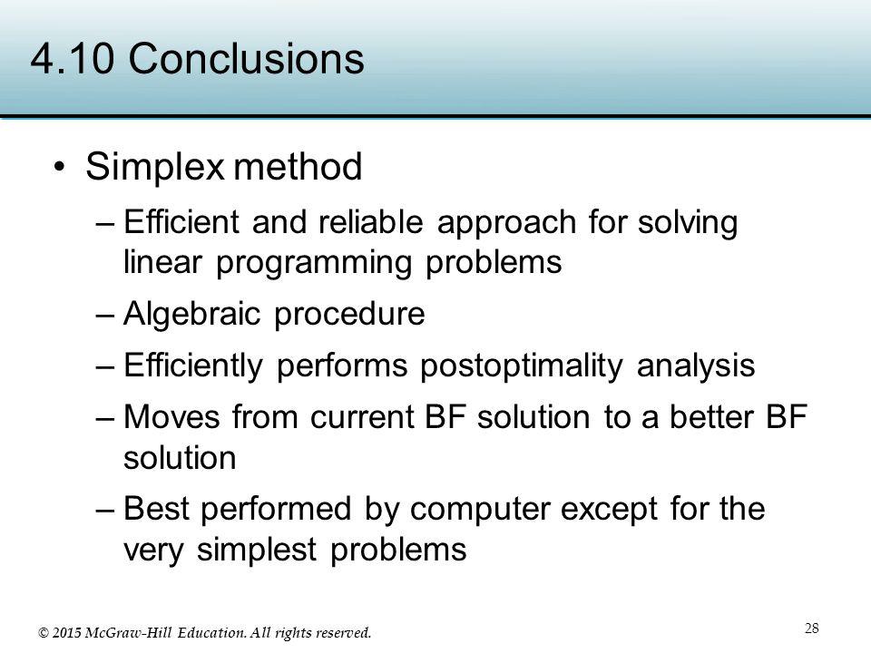 4.10 Conclusions Simplex method